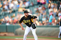 Salt Lake Bees starting pitcher Alex Blackford (11) delivers a pitch to the plate against the Reno Aces in Pacific Coast League action at Smith's Ballpark on June 15, 2017 in Salt Lake City, Utah. The Aces defeated the Bees 13-5. (Stephen Smith/Four Seam Images)