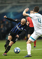 Football: UEFA Champions League -Group Stage - Group B - FC Internazionale Milano vs PSV Eindhoven, Giuseppe Meazza  (San Siro) Stadium, Milan Italy, December 11, 2018.<br /> Inter Milan's Borja Valero (l) in action with PSV Eindhoven's Nick Viergever (r) during the Uefa Champions League football match between Inter Milan and PSV Eindhoven at Giuseppe Meazza  (San Siro) Stadium in Milan on December 11, 2018. <br /> UPDATE IMAGES PRESS/Isabella Bonotto
