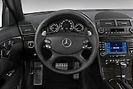 Steering wheel view of a 2008 Mercedes E63 Sedan
