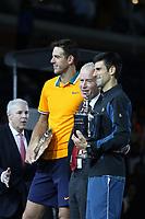 Juan Martin Del Potro John McEnroe Novak Djokovic<br /> US Open Tennis 9-9-2018<br /> Photo by John Barrett/PHOTOlink