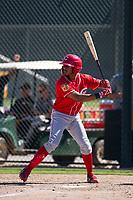 Cincinnati Reds outfielder Reshard Munroe (92) at bat during an Instructional League game against the Oakland Athletics on September 29, 2017 at Lew Wolff Training Complex in Mesa, Arizona. (Zachary Lucy/Four Seam Images)