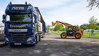Henley on Thames. United Kingdom.   2018 Henley Royal Regatta, Henley Reach. <br />   <br /> Course Construction, Large Fork lift unloads the boxes<br /> <br /> Thursday  03/05/2018<br /> <br /> [Mandatory Credit: Peter SPURRIER:Intersport Images]<br /> <br /> LEICA CAMERA AG  LEICA Q (Typ 116)  f5.6  1/320sec  35mm  42.6MB