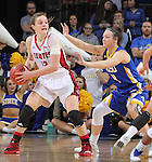 SIOUX FALLS, SD - MARCH 8:  Bridget Arens #22 of South Dakota shields the ball from Gabrielle Boever #4 of South Dakota State during the women's championship game at the 2016 Summit League Tournament at the Denny Sanford Premier Center in Sioux Falls, S.D. (Photo by Dick Carlson/Inertia)