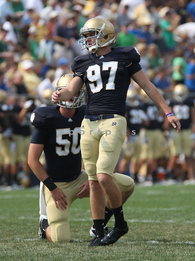 DAVID RUFFER, of Notre Dame, in action during Notre Dame's game against the University of South Florida on September 3, 2011 at Notre Dame Stadium in South Bend, Indiana. South Florida beat Notre Dame 23-20.