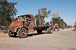 Annual fall Gas-Up at McFarland Ranch near Galt, Calif. of Branch 13, Early-Day Gas Engine and Tractor Association. (EDGE & TA)..1925 Mack AC truck owned by Norman & Jane Taunton with vintage Aermotor windmill stapped to its bed.