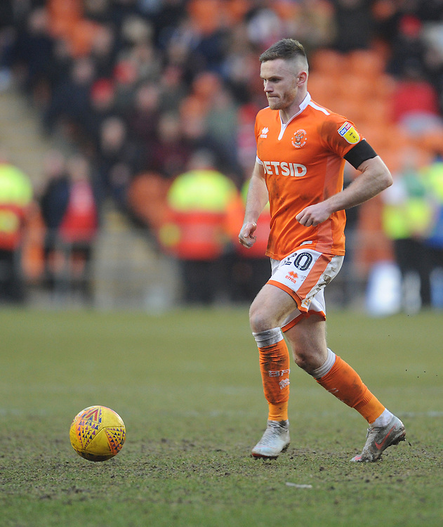 Blackpool's Oliver Turton<br /> <br /> Photographer Kevin Barnes/CameraSport<br /> <br /> The EFL Sky Bet League One - Blackpool v Walsall - Saturday 9th February 2019 - Bloomfield Road - Blackpool<br /> <br /> World Copyright © 2019 CameraSport. All rights reserved. 43 Linden Ave. Countesthorpe. Leicester. England. LE8 5PG - Tel: +44 (0) 116 277 4147 - admin@camerasport.com - www.camerasport.com