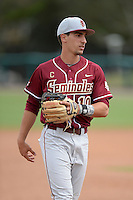 Florida State Seminoles shortstop Justin Gonzalez (10) before a game against the South Florida Bulls on March 5, 2014 at Red McEwen Field in Tampa, Florida.  Florida State defeated South Florida 4-1.  (Mike Janes/Four Seam Images)