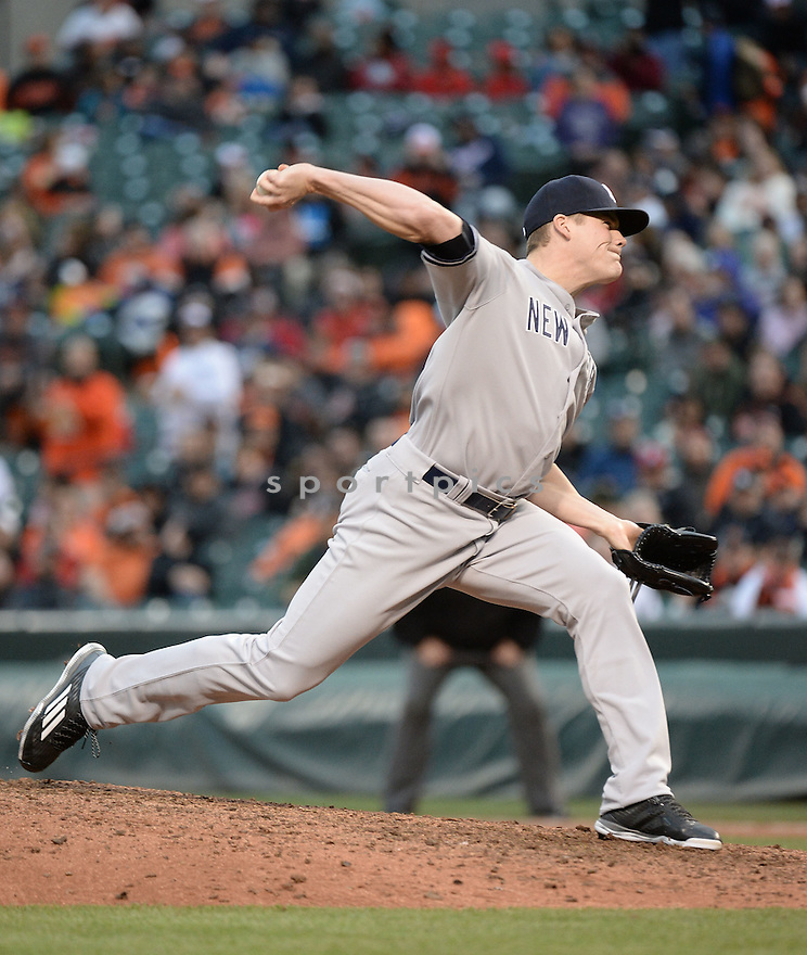 New York Yankees Chris Martin (57) during a game against the Baltimore Orioles on October 4, 2015 at Orioles Park in Baltimore, MD. The Orioles beat the Yankees 9-4.