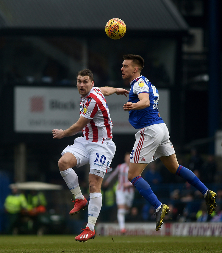 Stoke City's Eric Sam Vokes battles with Ipswich Town's Jonas Knudsen<br /> <br /> Photographer Hannah Fountain/CameraSport<br /> <br /> The EFL Sky Bet Championship - Ipswich Town v Stoke City - Saturday 16th February 2019 - Portman Road - Ipswich<br /> <br /> World Copyright © 2019 CameraSport. All rights reserved. 43 Linden Ave. Countesthorpe. Leicester. England. LE8 5PG - Tel: +44 (0) 116 277 4147 - admin@camerasport.com - www.camerasport.com