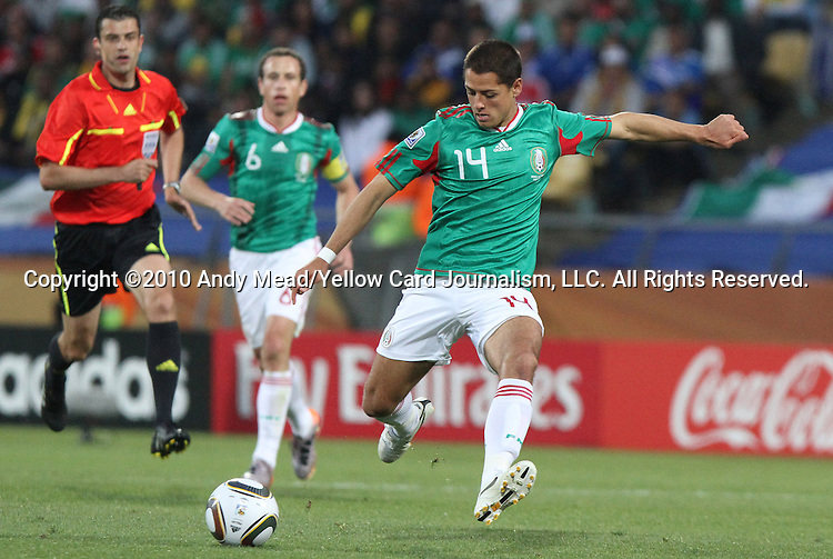22 JUN 2010: Javier Hernandez (MEX). The Mexico National Team lost 1-2 to the Uruguay National Team at Royal Bafokeng Stadium in Rustenburg, South Africa in a 2010 FIFA World Cup Group A match.