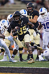 Greg Dortch (89) of the Wake Forest Demon Deacons catches a 7-yard touchdown pass during first half action against the Presbyterian Blue Hose at BB&T Field on August 31, 2017 in Winston-Salem, North Carolina.  (Brian Westerholt/Sports On Film)