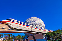 Monorail with Spaceship Earth (geosphere) in background, Epcot, Walt Disney World, Orlando, Florida USA