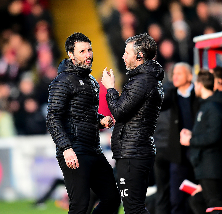 Lincoln City manager Danny Cowley and Lincoln City's assistant manager Nicky Cowley in the technical area<br /> <br /> Photographer Andrew Vaughan/CameraSport<br /> <br /> The EFL Sky Bet League Two - Lincoln City v Northampton Town - Saturday 9th February 2019 - Sincil Bank - Lincoln<br /> <br /> World Copyright &copy; 2019 CameraSport. All rights reserved. 43 Linden Ave. Countesthorpe. Leicester. England. LE8 5PG - Tel: +44 (0) 116 277 4147 - admin@camerasport.com - www.camerasport.com