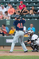 Jordan Betts (41) of the Salem Red Sox at bat against the Winston-Salem Dash at BB&T Ballpark on June 18, 2015 in Winston-Salem, North Carolina.  The Red Sox defeated the Dash 8-2.  (Brian Westerholt/Four Seam Images)