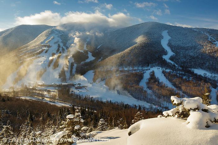 Cannon Mountain ski area in Franconia Notch State Park of the New Hampshire White Mountains from Bald Mountain during the winter months.