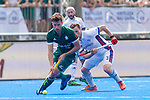Krefeld, Germany, May 19: During the Final4 Gold Medal fieldhockey match between Uhlenhorst Muelheim and Mannheimer HC on May 19, 2019 at Gerd-Wellen Hockeyanlage in Krefeld, Germany. (worldsportpics Copyright Dirk Markgraf) *** Timm Herzbruch #14 of Uhlenhorst Muelheim, Christopher Held #3 of Mannheimer HC