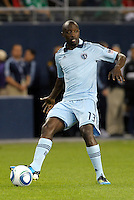 Lawrence Olum (13) defender Sporting KC in action... Sporting Kansas City and Chivas Guadalajara played to a 2-2 tie in an international friendly at LIVESTRONG Sporting Park, Kansas City, Kansas.