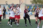 Santa Barbara, CA 02/19/11 - Anna Ponting (Stanford #5), Isabel Greenfield (Stanford #2) and Kari Hansen (Minnesota-Duluth #3) in action during the Stanford - Minnesota-Duluth game at the 2011 Santa Barbara Shootout.