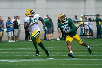 Green Bay Packers tight end Emanuel Byrd (49) and safety Marwin Evans (25)during a training camp practice on August 29, 2017 at Ray Nitschke Field in Green Bay, Wisconsin.   (Brad Krause/Krause Sports Photography)