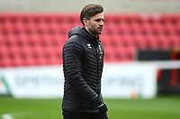 Lincoln City's assistant manager Nicky Cowley during the pre-match warm-up<br /> <br /> Photographer Andrew Vaughan/CameraSport<br /> <br /> The EFL Sky Bet League Two - Swindon Town v Lincoln City - Saturday 12th January 2019 - County Ground - Swindon<br /> <br /> World Copyright © 2019 CameraSport. All rights reserved. 43 Linden Ave. Countesthorpe. Leicester. England. LE8 5PG - Tel: +44 (0) 116 277 4147 - admin@camerasport.com - www.camerasport.com