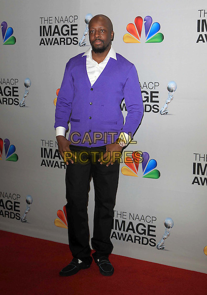 Wyclef Jean.44th NAACP Image Awards - Press Room Held At The Shrine Auditorium, Los Angeles, California, USA, .1st February 2013..full length black trousers purple shirt  white cardigan .CAP/ADM/KB.©Kevan Brooks/AdMedia/Capital Pictures.