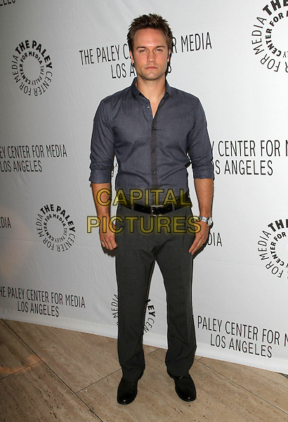 Scott Porter.PaleyFest: Fall TV Preview Parties - CW Held at The Paley Center for Media, Beverly Hills, California, USA..September 7th, 0211.full length shirt grey gray blue shirt trousers .CAP/ADM/KB.©Kevan Brooks/AdMedia/Capital Pictures.