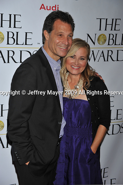 BEVERLY HILLS, CA. - October 18: Maureen McCormick and Michael Cummings arrive at the First Annual Noble Humanitarian Awards at The Beverly Hilton Hotel on October 18, 2009 in Beverly Hills, California.
