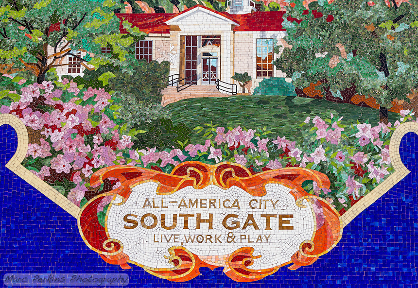 A detail view of the amazing South Gate mural at the entrance to the Municipal Auditorium at South Gate Park.