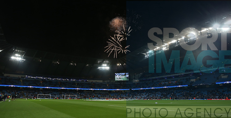 Fireworks over the stadium during the Champions League Group C match at the Etihad Stadium, Manchester. Picture date: November 1st, 2016. Pic Simon Bellis/Sportimage