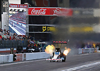 Feb 9, 2019; Pomona, CA, USA; NHRA top fuel driver Billy Torrence during qualifying for the Winternationals at Auto Club Raceway at Pomona. Mandatory Credit: Mark J. Rebilas-USA TODAY Sports