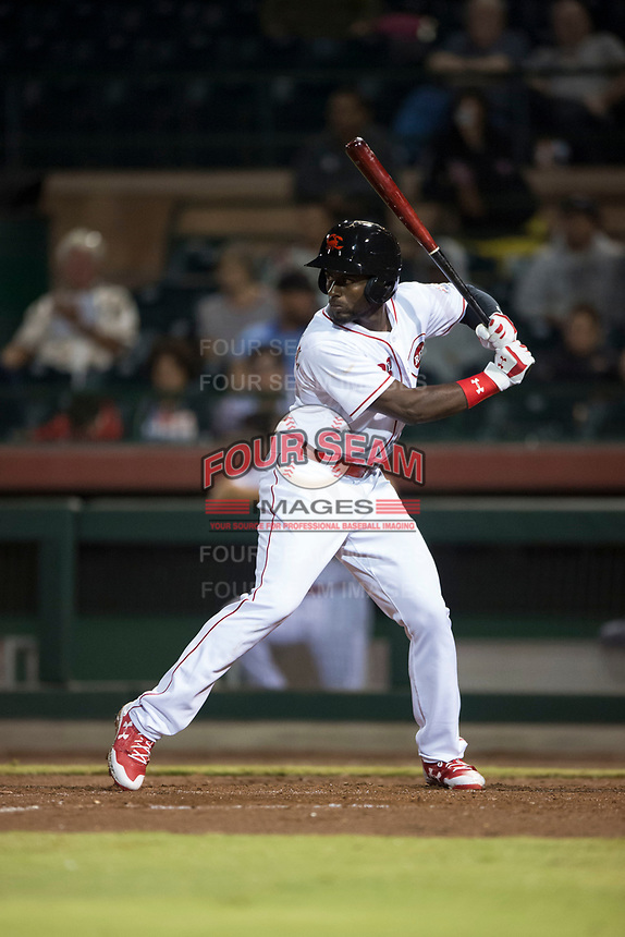 Scottsdale Scorpions left fielder Taylor Trammell (26), of the Cincinnati Reds organization, at bat during an Arizona Fall League game against the Mesa Solar Sox on October 9, 2018 at Scottsdale Stadium in Scottsdale, Arizona. The Solar Sox defeated the Scorpions 4-3. (Zachary Lucy/Four Seam Images)