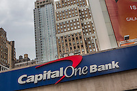 A Capital One Bank branch is pictured in the New York City borough of Manhattan, NY, Monday May 12, 2014. Capital One Financial Corporation is a U.S.-based bank holding company specializing in credit cards, home loans, auto loans, banking and savings products.