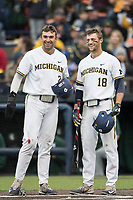 Michigan Wolverines outfielder Jonathan Engelmann (2) waits at the plate with teammate Jake Bivens (18) against the Michigan State Spartans on May 19, 2017 at Ray Fisher Stadium in Ann Arbor, Michigan. Michigan defeated Michigan State 11-6. (Andrew Woolley/Four Seam Images)