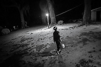 A young Geechee boy on the hunt for candy during Halloween in Hog Hammock. Hog Hammock is a 434-acre Geechee community, on Sapelo Island.