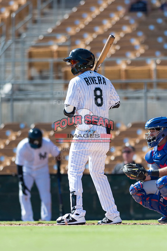 Glendale Desert Dogs second baseman Laz Rivera (8), of the Los Angeles Dodgers organization, at bat during an Arizona Fall League game against the Mesa Solar Sox at Camelback Ranch on October 15, 2018 in Glendale, Arizona. Mesa defeated Glendale 8-0. (Zachary Lucy/Four Seam Images)