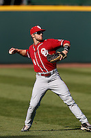 Hunter Haley #4 of the Oklahoma Sooners during a baseball game against the UCLA Bruins at Jackie Robinson Stadium on March 9, 2013 in Los Angeles, California. (Larry Goren/Four Seam Images)