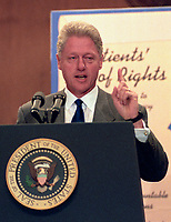 ***FILE PHOTO*** Bill Clinton Has Not Apologized To Monica Lewinsky And Claims Did The Right Thing Staying In Office.<br /> <br /> United States President Bill Clinton makes remarks at an event in the Dirksen Senate Office Building on Capitol Hill to advocate for the passage of the &quot;Patient's Bill of Rights&quot; on Thursday, July 16, 1998.<br /> CAP/MPI/RS<br /> &copy;RS/MPI/Capital Pictures