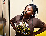 Britney Christian waits for the elevator in the Gillespie Residence Hall to take her to the third floor during freshman move-in day at Harris-Stowe State University in St. Louis on Wednesday August 15, 2018.  She was helping new student Kay Lloyd of Chicago (not shown) move into her dorm.   Photo by Tim Vizer