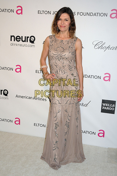 Finola Hughes.21st Annual Elton John Academy Awards Viewing Party held at West Hollywood Park, West Hollywood, California, USA..February 24th, 2013.oscars full length beige sleeveless beads beaded dress pattern hand on hip  .CAP/ADM/BP.©Byron Purvis/AdMedia/Capital Pictures.