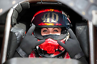 Feb 21, 2020; Chandler, Arizona, USA; NHRA funny car driver Alexis DeJoria during qualifying for the Arizona Nationals at Wild Horse Pass Motorsports Park. Mandatory Credit: Mark J. Rebilas-USA TODAY Sports