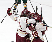 Megan Keller (BC - 4), Andie Anastos (BC - 23), Makenna Newkirk (BC - 19) -  The Boston College Eagles defeated the University of Vermont Catamounts 4-3 in double overtime in their Hockey East semi-final on Saturday, March 4, 2017, at Walter Brown Arena in Boston, Massachusetts.