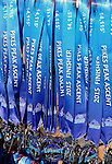 August 15, 2015 - Manitou Springs, Colorado, U.S. - Race finisher medals waiting for runners completing the Pikes Peak Ascent during the 60th running of the Pikes Peak Ascent and Marathon.  During the Ascent, runners cover 13.3 miles and gain more than 7815 feet (2382m) by the time they reach the 14,115ft (4302m) summit.  On the second day of race weekend, 800 marathoners will make the round trip and cover 26.6 miles of high altitude and very difficult terrain in Pike National Forest, Manitou Springs, CO.