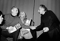 - Milan, Marco Pannella, leader of Radical Party in 1975 with Dario Fo e Franca Rame<br /> <br /> - Marco Pannella, leader del Partito Radicale a Milano nel 1975 con dario Fo e Franca Rame