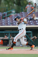 Jeff Kobernus (10) of the San Jose Giants bats during a game against the Inland Empire 66ers at San Manuel Stadium on August 26, 2015 in San Bernardino, California. San Jose defeated Inland Empire, 8-1. (Larry Goren/Four Seam Images)