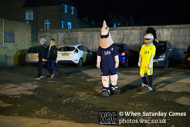 Southend United 1 Burton Albion 1, 22/02/2016. Roots Hall, League One. The two home club mascots, Sammy the Shrimp and Elvis J Eel waiting to greet supporters outside Roots Hall stadium, pictured before Southend United took on Burton Albion in a League 1 fixture. Founded in 1906, Southend United moved into their current ground in 1955, the construction of which was funded by the club's supporters. Southend won this match by 3-1, watched by a crowd of 6503. Photo by Colin McPherson.