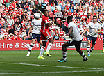 Britt Assombalonga of Middlesbrough heading the ball towards goal during the Sky Bet Championship match at the Riverside Stadium, Middlesbrough. Picture date: August 26th 2017. Picture credit should read: Jamie Tyerman/Sportimage