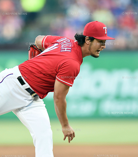 Yu Darvish (Rangers), JUNE 8, 2016 - MLB : Texas Rangers starting pitcher Yu Darvish reacts during the MLB game between the Houston Astros and the Texas Rangers at Globe Life Park in Arlington, United States. (Photo by AFLO)