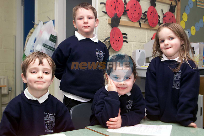Hughie Waldron, Luke Montague, Josalin McCluskey and Megan McArdle in Junior Infants, Cartown National School..Picture: Paul Mohan/Newsfile