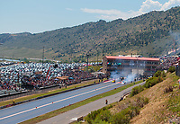 Jul 21, 2019; Morrison, CO, USA; Overall view of Bandimere Speedway during the NHRA Mile High Nationals. Mandatory Credit: Mark J. Rebilas-USA TODAY Sports
