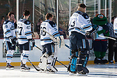 Blaine Byron (Maine - 89), Mark Hamilton (Maine - 47), Matt Morris (Maine - 36), Stephen Mundinger (Maine - 33), Wally the Green Monster - The University of Maine Black Bears defeated the University of Connecticut Huskies 4-0 at Fenway Park on Saturday, January 14, 2017, in Boston, Massachusetts.